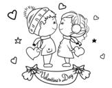 Desenho de Caçoa namorados para colorear