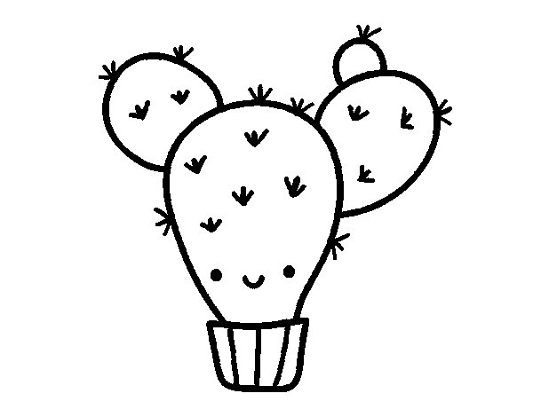 Desenho de Cacto opuntia para Colorir