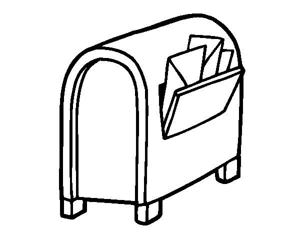 Desenho de Caixa de correio com letras para Colorir