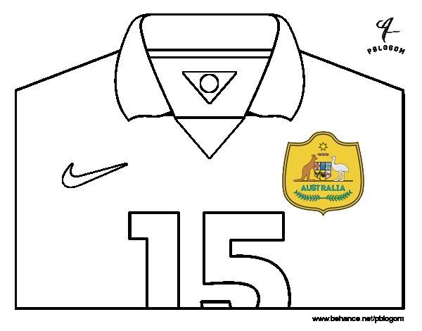 Desenho de Camisa da copa do mundo de futebol 2014 da Austrália para Colorir