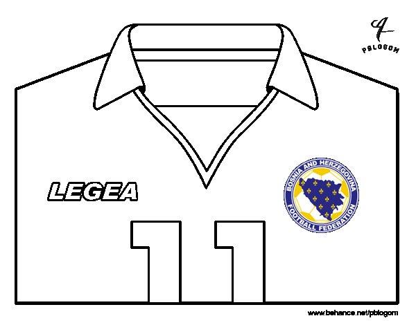 Desenho de Camisa da copa do mundo de futebol 2014 da Bósnia e Herzegovina para Colorir