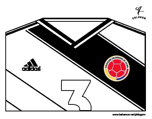 Desenho de Camisa da copa do mundo de futebol 2014 da Colômbia para Colorir