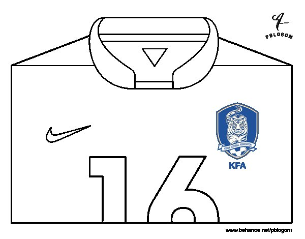 Desenho de Camisa da copa do mundo de futebol 2014 da Coréia do Sul para Colorir