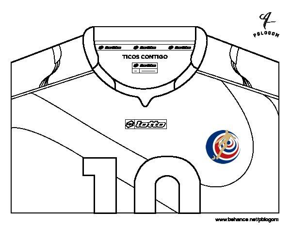 Desenho de Camisa da copa do mundo de futebol 2014 da Costa Rica para Colorir
