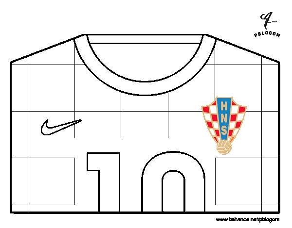 Desenho de Camisa da copa do mundo de futebol 2014 da Croácia para Colorir