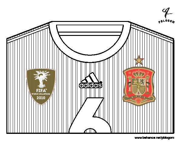 Desenho de Camisa da copa do mundo de futebol 2014 da Espanha para Colorir