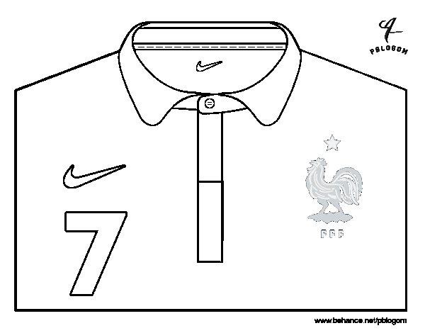 Desenho de Camisa da copa do mundo de futebol 2014 da França para Colorir