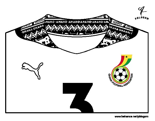 Desenho de Camisa da copa do mundo de futebol 2014 da Gana para Colorir
