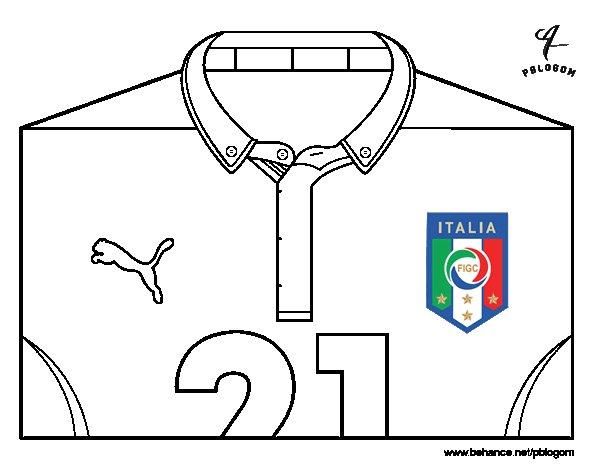 Desenho de Camisa da copa do mundo de futebol 2014 da Itália para Colorir