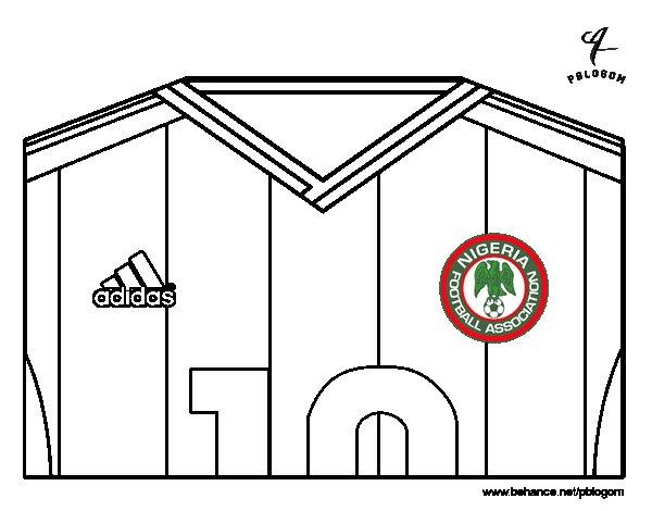 Desenho de Camisa da copa do mundo de futebol 2014 da Nigéria para Colorir