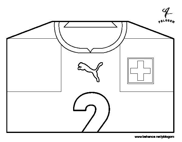 Desenho de Camisa da copa do mundo de futebol 2014 da Suíça para Colorir