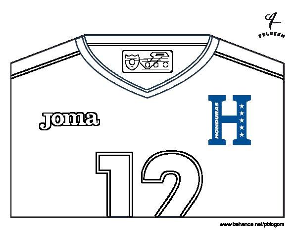 Desenho de Camisa da copa do mundo de futebol 2014 de Honduras para Colorir