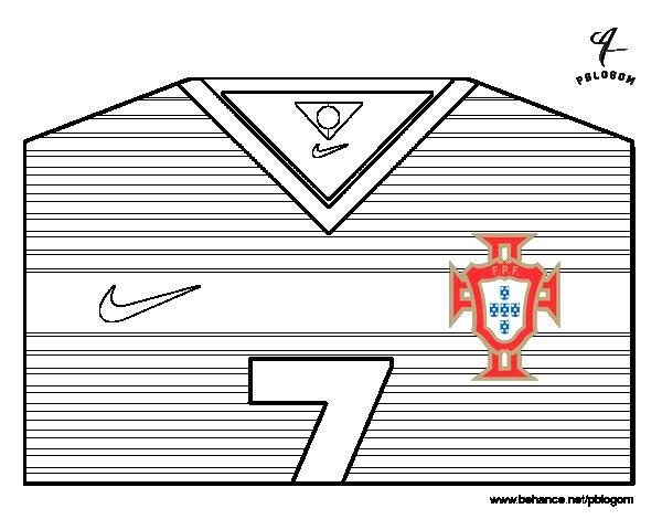 Desenho de Camisa da copa do mundo de futebol 2014 de Portugal para Colorir
