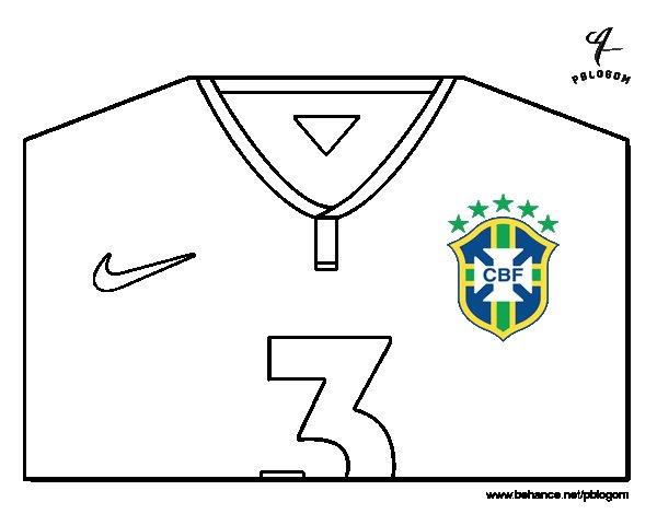 Desenho de Camisa da copa do mundo de futebol 2014 do Brasil para Colorir
