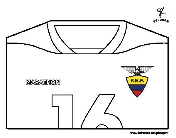 Desenho de Camisa da copa do mundo de futebol 2014 do Equador para Colorir
