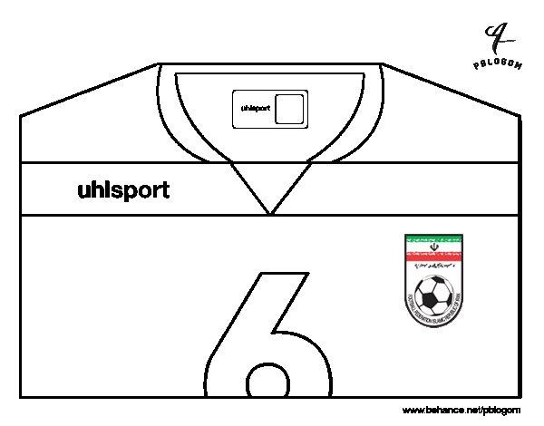 Desenho de Camisa da copa do mundo de futebol 2014 do Irão para Colorir
