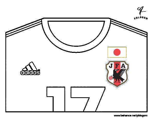 Desenho de Camisa da copa do mundo de futebol 2014 do Japão para Colorir