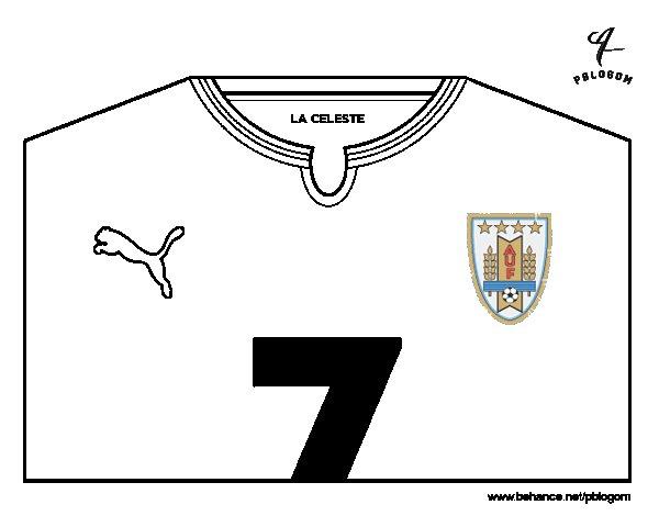 Desenho de Camisa da copa do mundo de futebol 2014 do Uruguai para Colorir
