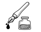 Dibujo de Caneta de tinta permanente e tinteiro