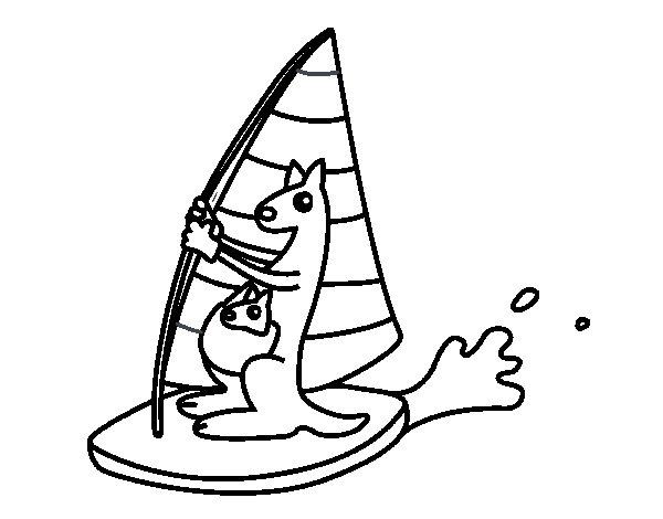 Desenho de Cangurus em uma prancha windsurf para Colorir