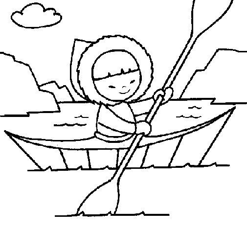 Desenho de Canoa esquimó para Colorir