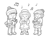 Desenho de Cantores de Natal para colorear