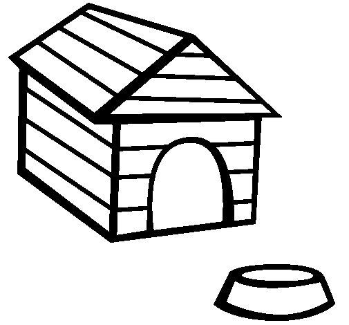 Desenho de Cão casa para Colorir
