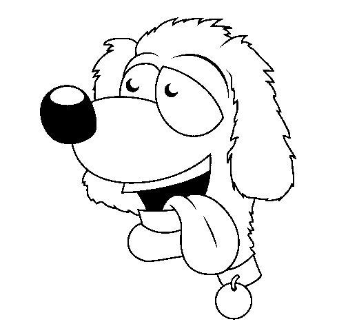 Desenho de Cão com a língua de fora II para Colorir