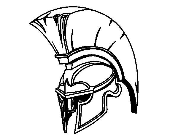 Desenho de Capacete romano de guerreiro para Colorir