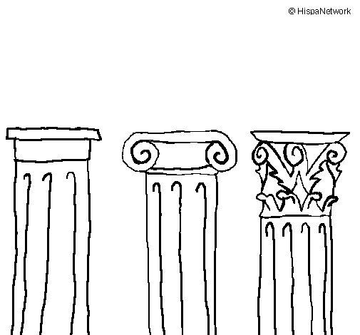 Desenho de Capitel dórico, iónico e corintio para Colorir