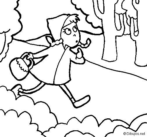 Desenho de Capuchinho vermelho 4 para Colorir