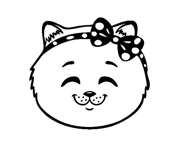 Desenho de Cara de gatinha feliz para Colorir