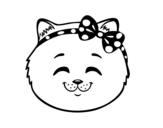 Desenho de Cara de gatinha feliz para colorear