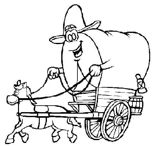 Desenho de Carroça vaqueiro para Colorir