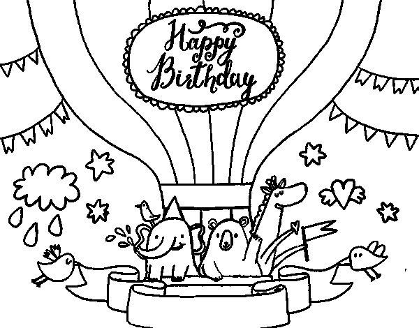 Desenho de Cartão de feliz aniversário para Colorir