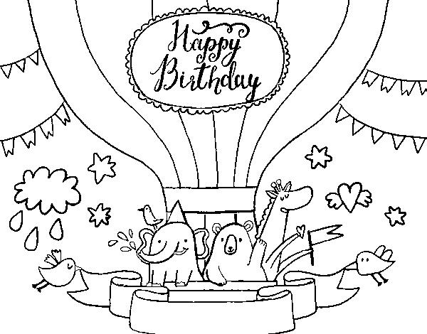 Feliz Cumpleaños Para Colorear: Desenho De Cartão De Feliz Aniversário Para Colorir