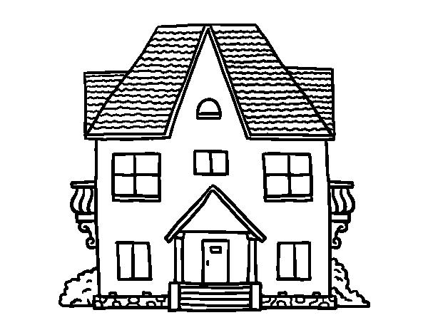 Desenho De Casa Com Varandas Para Colorir