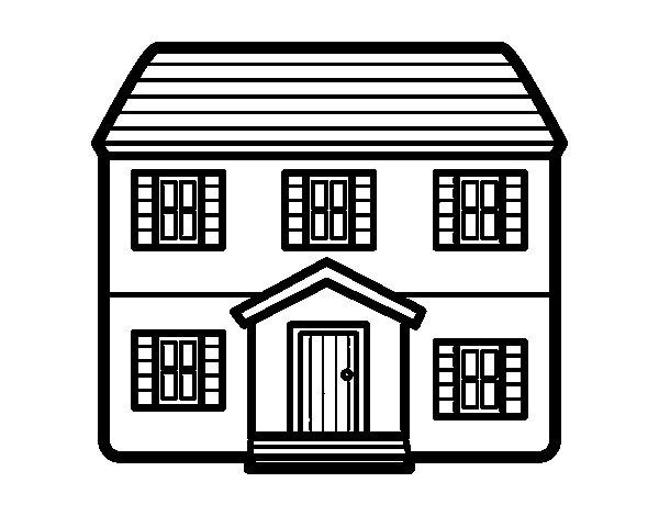 Desenho De Casa Con Dois Pavimenti Para Colorir