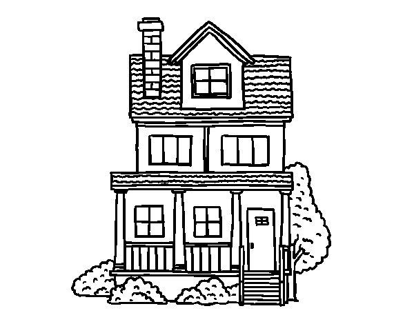 Desenho de Casa de dois andares com sótão para Colorir