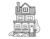 Desenho de Casa de dois andares com sótão para colorear