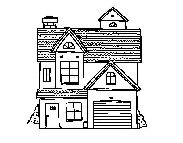 Desenho de Casa de família americana para Colorir