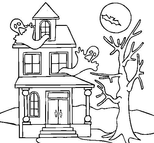 Desenho de Casa do terror para Colorir