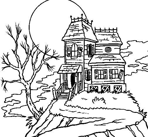 Desenho de Casa encantada para Colorir