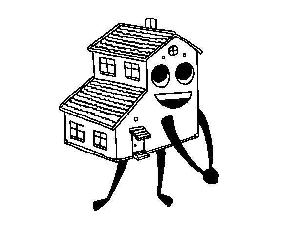 Desenho de Casa sorrindo para Colorir