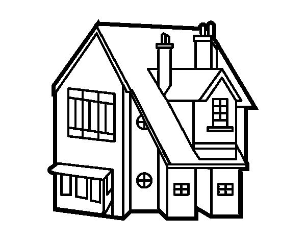 Desenho de casa unifamiliar para colorir - Presupuesto para pintar una casa ...