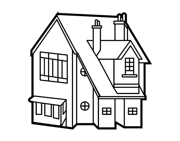 Desenho de casa unifamiliar para colorir - Para pintar casas ...