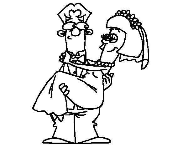 Desenho de Casado para Colorir