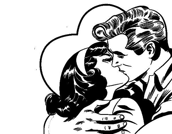 Desenho de Casal a beijarem-se para Colorir