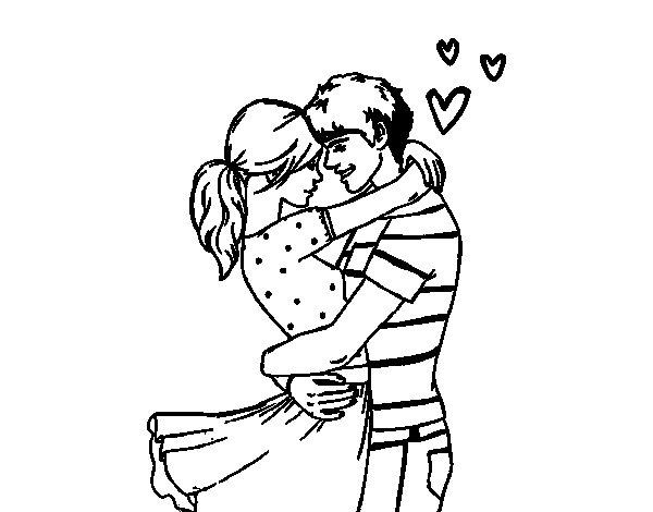Desenho de Casal apaixonado para Colorir