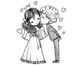 Desenho de Casamento do príncipe e da princesa para colorear